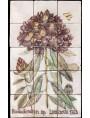 Pannello maiolicato fiori Rododendro