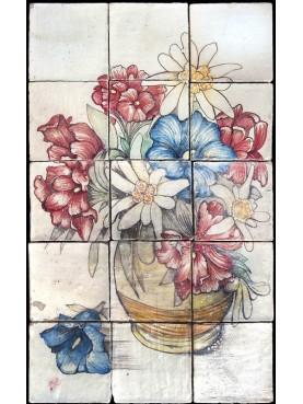 Pannello maiolicato fiori apini