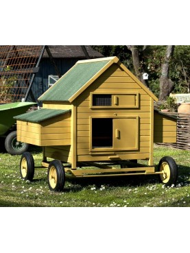 Wooden chicken coop with iron trolley