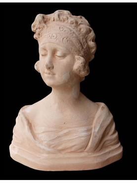 Piccolo busto di donna in terracotta