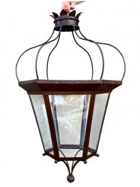 Lanterna da giardino H. 90 cm in ferro antica foggia Toscana rinascimentale