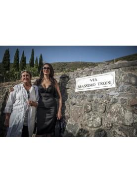 Memorial plaque road in white Carrara marble