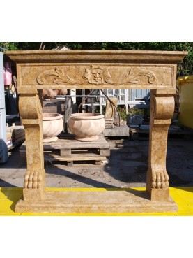 Fireplace in yellow reale marble