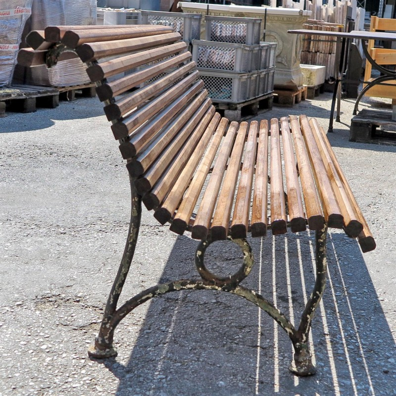 Panchina Con Gambe In Ghisa Antiche E Stecche Di Legno Recuperando