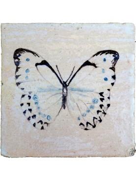Hand made maiolica tile - Morpho luna (Butler, 1869)