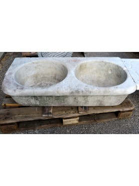 Ancient white Carrara marble sink two hole