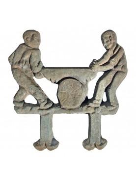 Grattapiedi del taglialegna in bronzo