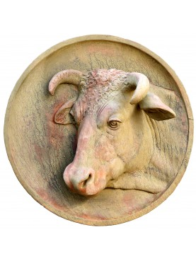 Terracotta round with cow Impruneta