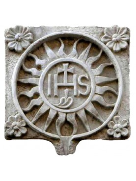IHS in white Carrara marble - sun with four flowers