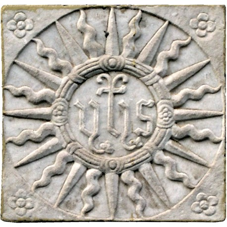 IHS in white Carrara marble - sun with six flowers