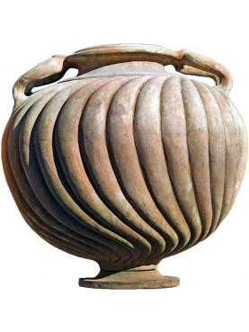 Vaso cratere in terracotta globoso a tortiglione