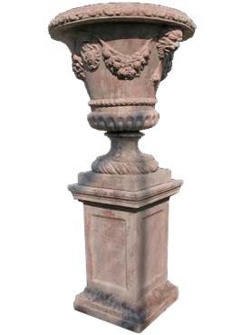 Grande vaso ornamentale mediceo in terracotta con stemma mediceo
