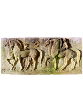 Terracotta basrelief Horses and Greeks Knights