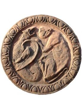 Terracotta basrelief, grotesque formella