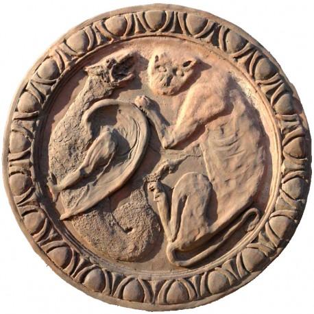 Bassorilievo in terracotta, formella grottesca