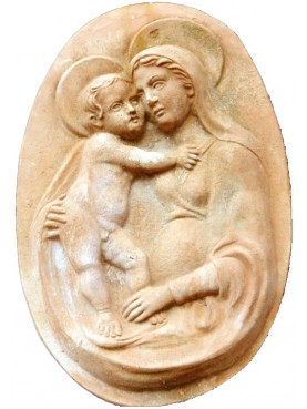 "Terracotta basrelief ""Madonna with child"""