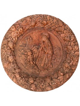 Terracotta Basrelief Madonna with Child ROBBIANA