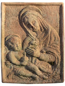 Terracotta basrelief, Madonna with Child