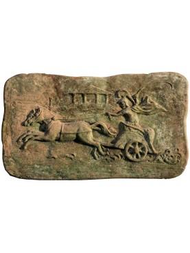 Bassorilievo in terracotta, biga romana