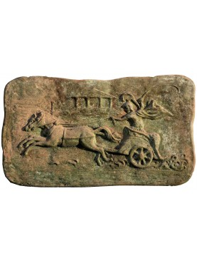 Terracotta bas-relief, roman chariot