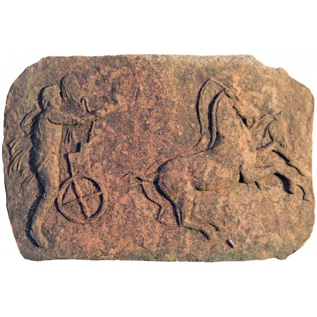 Terracotta bas-rilief roman chariot