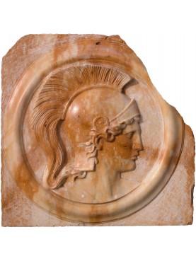 Yellow Siena marble Athena basrelief