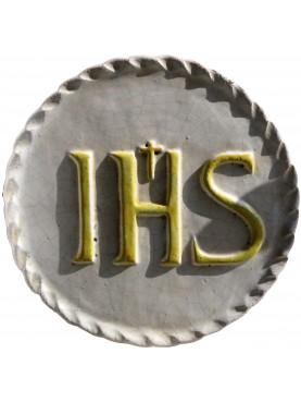 Bassorilievo in terracotta maiolicata IHS