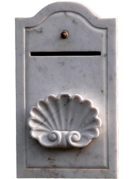 White Carrara marble mail boxes with shell