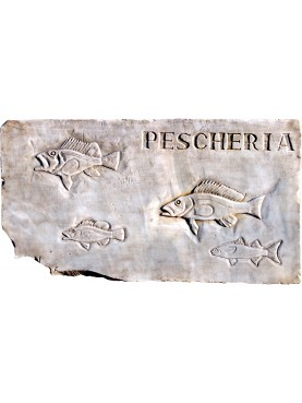 FISH SHOP insignia in white Carrara marble