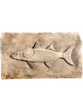 FISH SHOP insignia - white Carrara marble - hand made