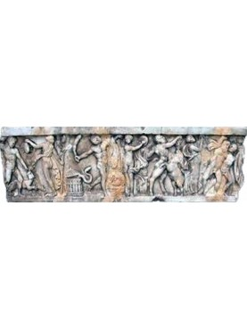 White Carrara Marble Ancient Roman basrelief Bacchanal