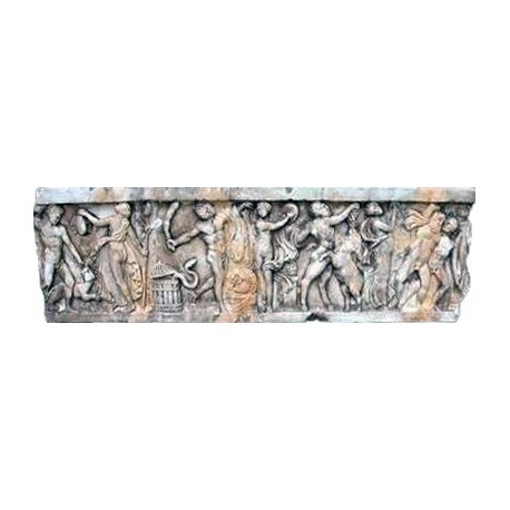 White Carrara Marble Ancient Roman basrelief Bacchanal