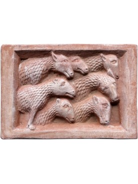 "Nonantola Tile Abbey ""The Flock"" Sheep bas-relief"