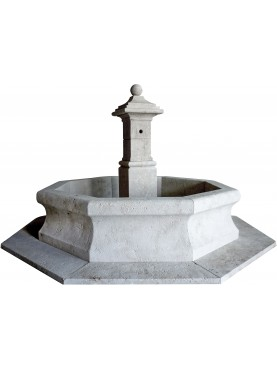 Large rounded fountain in limestone