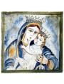 Pannello votivo Madonna col bambino in maiolica