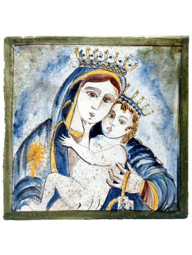 Devotional panel - Madonna with child in majolica