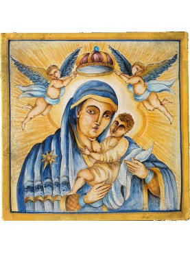 Devotional panel - Madonna with child in majolica - Madonna delle Grazie