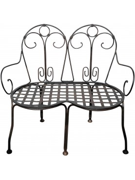 Settee iron garden bench with 2 seats
