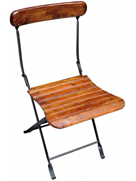 Iron and wood folding chair