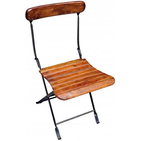 Sedie In Legno Richiudibili.Sedia In Legno E Ferro Pieghevole Recuperando
