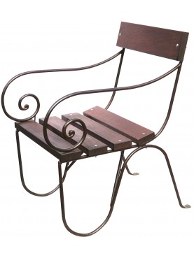 Armchair wrought iron and wood