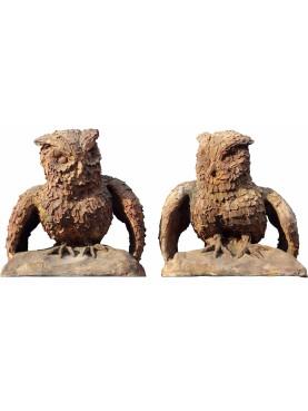 Coppia di Gufi reali (Bubo bubo) in terracotta