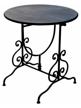 Tavolino pieghevole Ø60cm ferro battuto