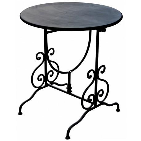 Tavolino pieghevole Ø 60 cm ferro battuto - Recuperando