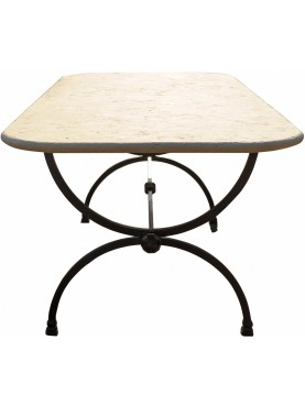 Wrought iron rectangular table with limestone top