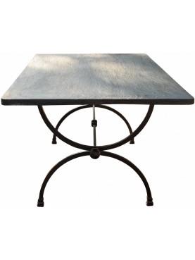 Iron table with a slate slab Ligure split