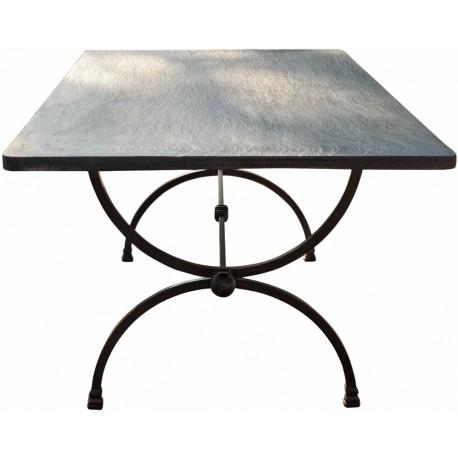 Tavolo in ferro e piano in Ardesia Ligure a spacco
