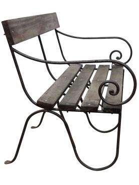 Divano Panchina in ferro battuto e legno