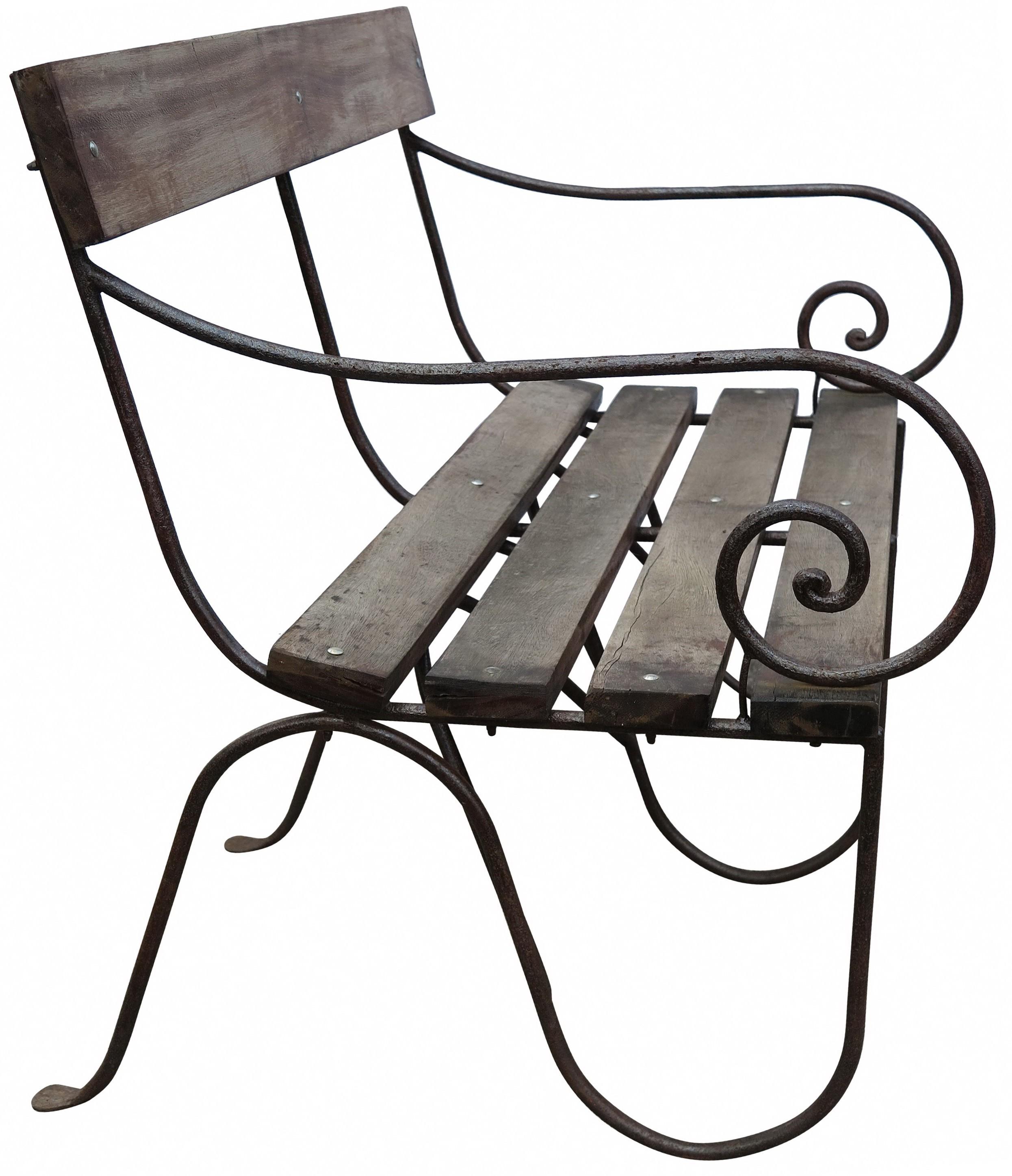 divano panchina ferro battuto legno
