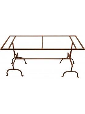 Tavolo realizzato con cavalletti in ferro